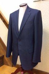 ブルーグレー チェック柄のオーダースーツの画像